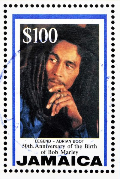 A stamp printed in Jamaica commemorating the 50th anniversary of
