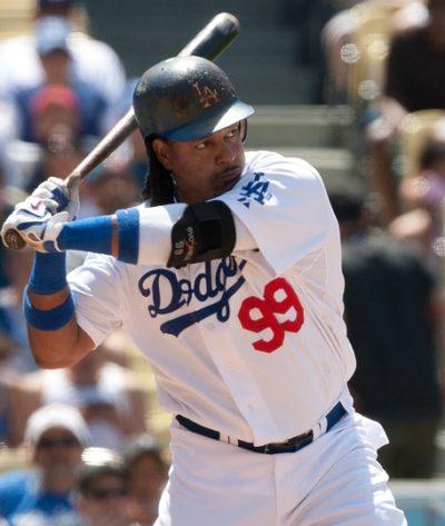 LOS ANGELES - JUNE 30: Dodgers LF #99 Manny Ramirez at bat durin