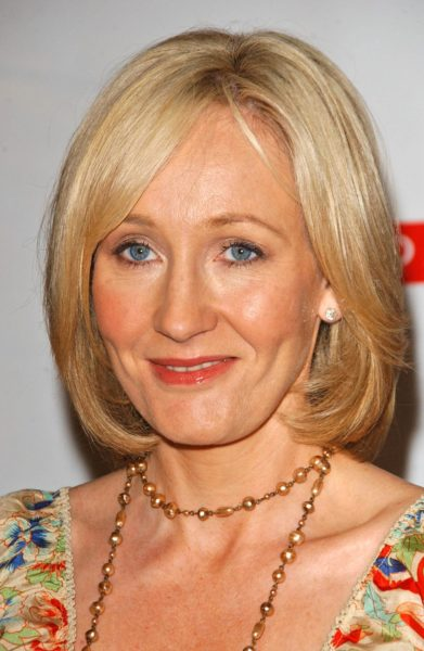 "J.K. Rowling  at a press conference to promote her ""Open Book To"