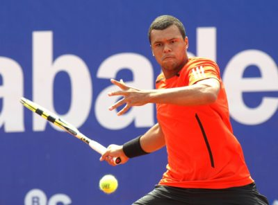 BARCELONA - APRIL 21: French Jo-Wilfried Tsonga in action during