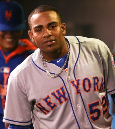 DENVER-AUG 21: New York Mets outfielder Yoenis Cespedes celebrat