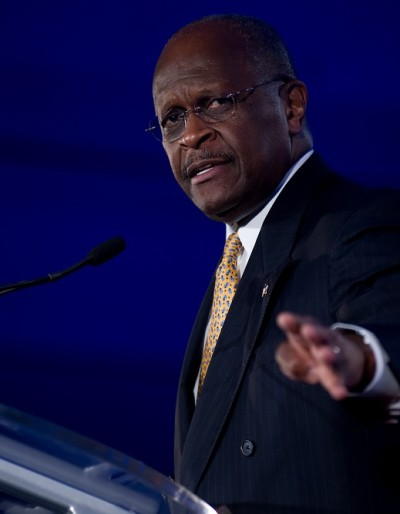 NEW ORLEANS, LA - JUNE 17: Presidential candidate Herman Cain ad