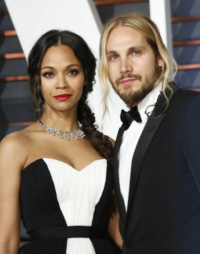 Zoe Saldana, Marco Perego at the Vanity Fair Oscar Party 2015 at the Wallis Annenberg Center for the Performing Arts