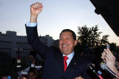 VIENNA - MAY 11: Venezuelan President Hugo Chavez greets a crowd
