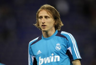 BARCELONA - MAY, 11: Luka Modric  of Real Madrid before the Span