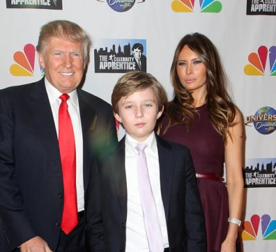 NEW YORK-FEB 16: (L-R) Donald Trump, son Barron  Trump and wife