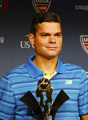 Professional tennis player Milos Raonic during 2014 Emirates Air