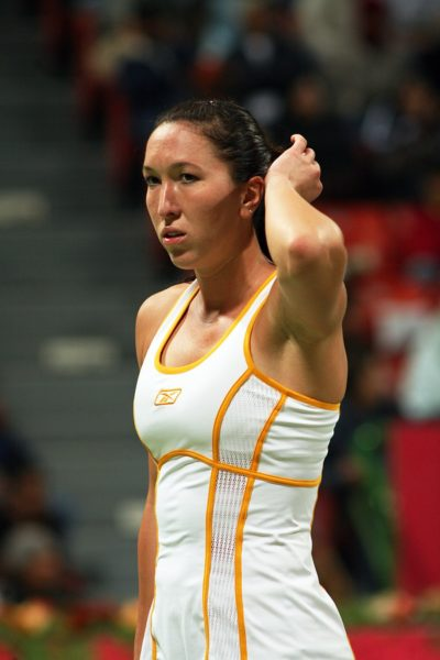 Serb tennis star Jelena Jankovic in action against Justin Henin